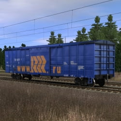 Длинный синий крытый вагон www.RRR.ru