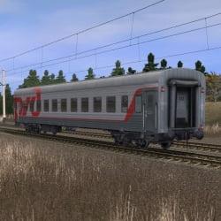 Пассажирский плацкартный вагон в фирменном окрасе РЖД 3