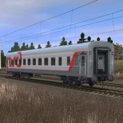 Пассажирский плацкартный вагон в фирменном окрасе РЖД 5