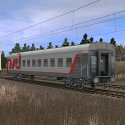 Пассажирский плацкартный вагон в фирменном окрасе РЖД 6