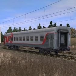 Пассажирский плацкартный вагон в фирменном окрасе РЖД 7