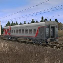 Пассажирский плацкартный вагон в фирменном окрасе РЖД 8