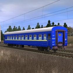Синий пассажирский купейный вагон 2