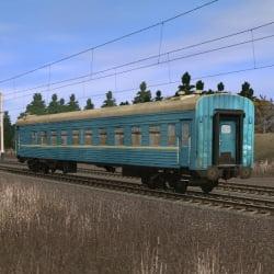 Синий пассажирский плацкартный вагон 2