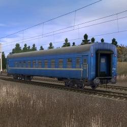 Синий пассажирский плацкартный вагон 3