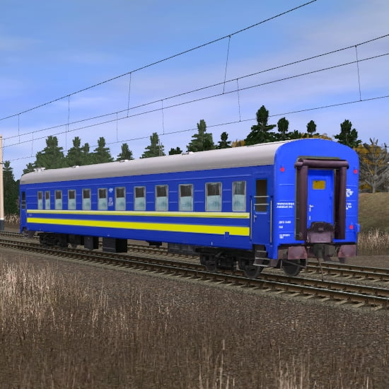 Синий пассажирский купейный вагон 3