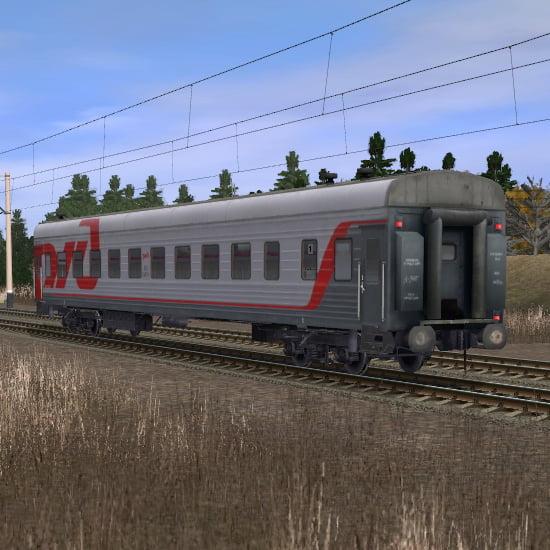 Пассажирский плацкартный вагон в фирменном окрасе РЖД 4