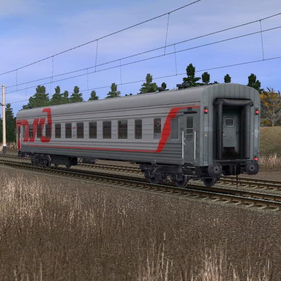 Пассажирский плацкартный вагон в фирменном окрасе РЖД 2