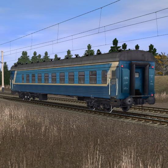 Сине-белый пассажирский плацкартный вагон