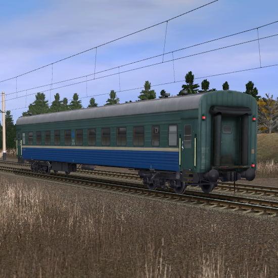 Зелёно-синий пассажирский плацкартный вагон