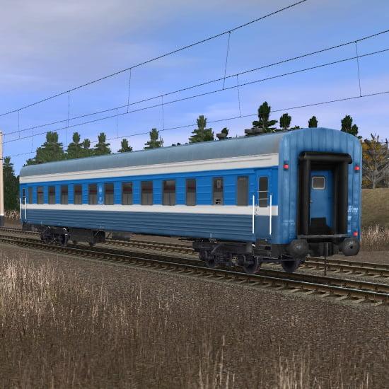 Сине-белый пассажирский плацкартный вагон 2