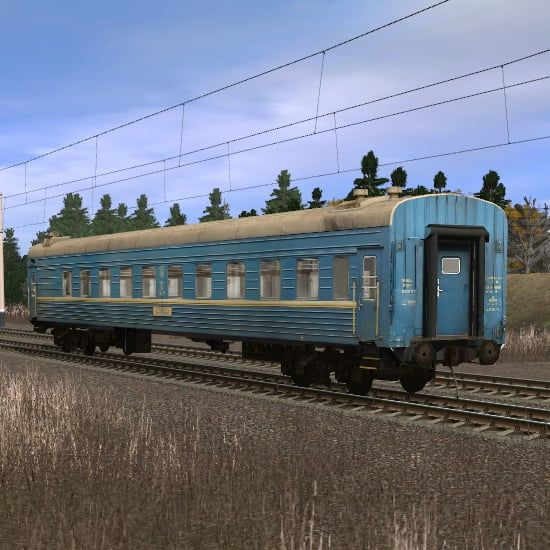Синий пассажирский плацкартный вагон