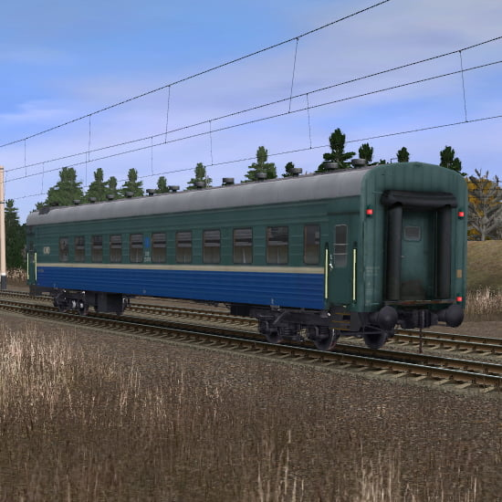 Зелёно-синий пассажирский плацкартный вагон 4